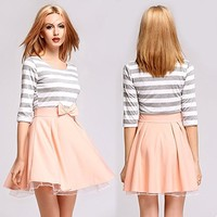 OURS Women's O-neck Half Sleeve Bowknot Striped Pleated Sexy Casual Dress