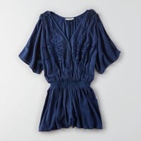 AEO Embroidered Gauze Romper