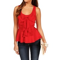 Pre-Order: Red Bow Peplum Top