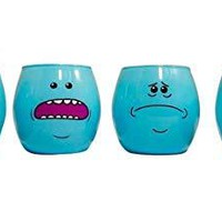 """Rick and Morty Shot Glasses,""""LOOK AT ME, IT'S GETTIN WEIRED, EXISTENCE IS PAIN, I JUST WANNA DIE"""" Four Different Faces Expression Blue color Shot Glasses, Pack of 4, 2oz"""