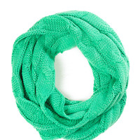 Mint Kisses Cable Knit Infinity Scarf