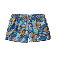 "Patagonia Women's Barely Baggies 2.5"" Shorts- Neo Tropics- Channel Blue"