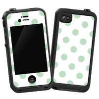 """Spring Green Polka Dot on White """"Protective Decal Skin"""" for LifeProof 4/4S Case: Electronics"""