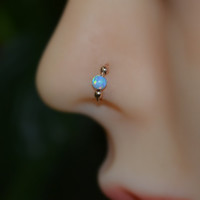 14k Gold Filled Opal Nose Ring, 20g Small Hoop Earring, tragus/helix/rook/daith cartilage piercing 20 Gauge handcrafted nose rings