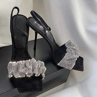 New Sexy Lady Square Toe High Heels Diamond Sandals Shoes Dress
