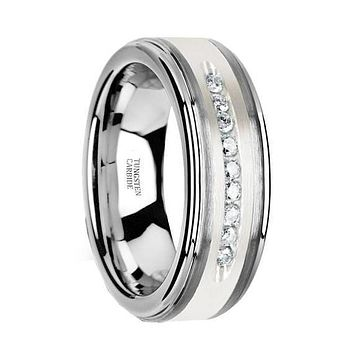 Men's Tungsten Wedding Band with Brushed Silver Inlay and 9 White Diamonds - 8mm