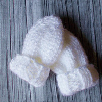 Preemie Size Baby Mittens 3 to 5 lbs, Hand Knit White No Thumb Mitts, Ready To Ship, Boy Girl Hand Warmers Gender Neutral Infant Clothes