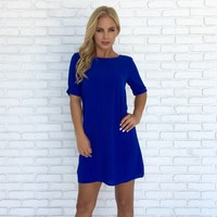 Take The Lead Shift Dress In Royal Blue