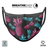 Vivid Abstract Hot Pink and Turquoise Pineapple - Made in USA Mouth Cover Unisex Anti-Dust Cotton Blend Reusable & Washable Face Mask with Adjustable Sizing for Adult or Child