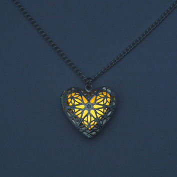 Flaming, Heart of the Sun - Glowing Necklace - Glowing Heart - Orange Heart - Filigree Heart - Heart Pendant - Heart Locket - Silver Heart