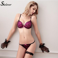 Shelover French Brand Female Underwear Set Deep V Embroidery Push Up Lingerie VS Lace Bra  Women Bra Set Sexy Bra Thongs Panty
