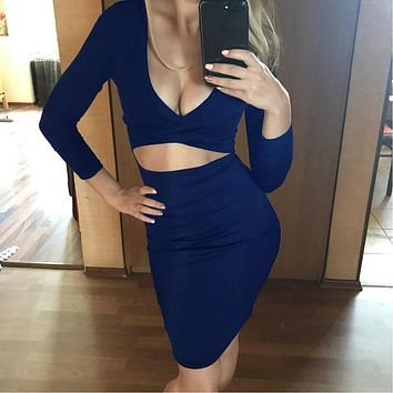 CRISS-CROSS HOLLOWED FRONT BANDAGE DRESS