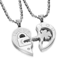 """Valentine Couple's """"Love You"""" Lock and Key Pendant Necklaces Stainless Steel (One Pair)"""