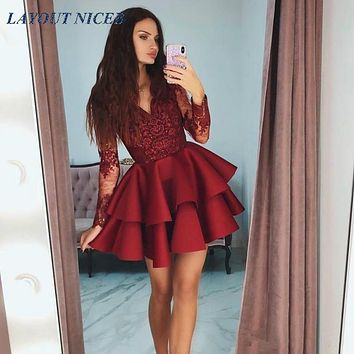 Tiered Ruffles Burgundy Satin Short Prom Dresses 2019 Modest Sheer Long Sleeves Formal Party Gowns Appliques Lace 8th Grade Home