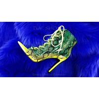 """CR JoJo Translucent Neon Yellow Lime Snake Print 4"""" Heel Ankle Boots Size 6-11"""