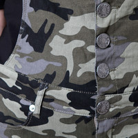 Military Camo Button-Up Pocketed Overalls