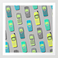 Vintage Cellphone Pattern Art Print by Chobopop