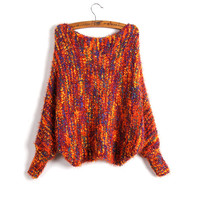 Petite Batwing Sleeves Loose Style Mixed Color Large Collar Mohair Knit Sweater