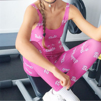 """Pink """"Babe"""" Letter Print Sleeveless Jumpsuit"""