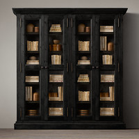Salvaged Wood Wide Glass Cabinet