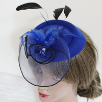 Royal blue hat, Blue fascinator, Blue headpiece, Wedding fascinator, Race day hats, Dark blue fascinator, Cobalt blue bridal headwear
