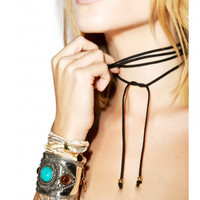 Black Faux Suede Cord Wrap Tie Choker Necklace with Gold Small Charm