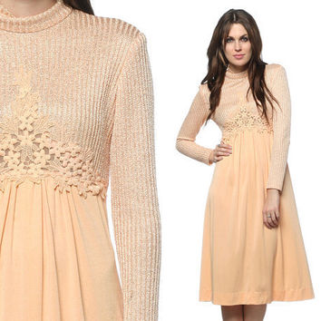 Crochet Babydoll Dress 70s Boho Peach Empire Waist Bohemian Chic Draped Floral Ribbed Knit Midi Vintage Long Sleeve Dress Medium Large M L