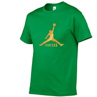 Jordan Fashion New Bust Letter Print Women Men Sports Leisure Top T-Shirt Green