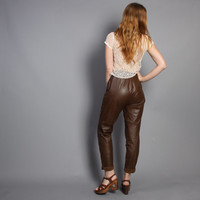 80s LEATHER PANTS / High Waist Milk Chocolate Brown Trousers, xs