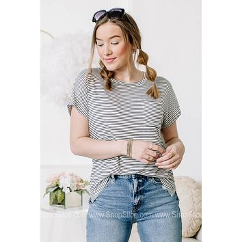Down The Line Striped Pocket Top
