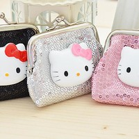 Sequin Hello Kitty Kisslock Coin Purse
