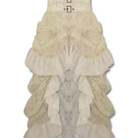 Banned Long Gothic Steampunk Skirt Ivory VTG Victorian Lace Bustle Corset