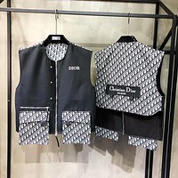 Dior new stitching logo jacquard couple vest