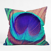 """Shannon Clark Pretty Peacock Throw Pillow 18 x 18 Sample Sale - Luxe Indoor / 18"""" x 18"""" / Pillow Cover With Insert"""