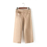 Women's Fashion Summer High Rise Zippers With Pocket Pants Casual Capri [4920279556]