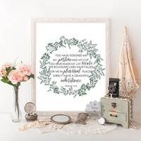 Psalm 16:5 You have assigned me Bible verse art print printable verse wall art Scripture print quote wall decor typography wall decor quote
