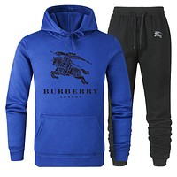 BURBERRY Autumn Winter Fashion Women Men Casual Top Sweater Pants Trousers Set Two-Piece Sapphire Blue
