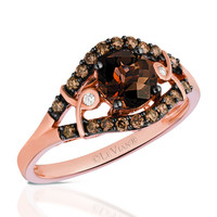 Le Vian® 0.75 Carat Round Cut Chocolate Quartz Split Shank Ring in 14K Strawberry Gold®
