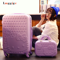 """20""""22""""24""""26""""28""""inch Hello kitty Luggage set,Cartoon KT cat Suitcase,Candy colors Spinner wheels Trolley,Travel Drag Box, Lockbox"""