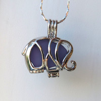 Purple Sea Glass  Elephant Necklace Locket Frosted Pale