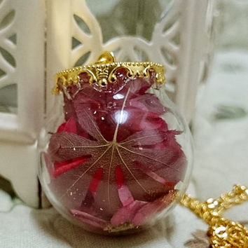 Necklace real red pink  flower leave in glass marble leaf gift for her vintage cute bronze chains pendant birthday valentine's day gift