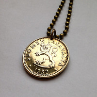 1982 Finland 20 Pennia coin pendant charm necklace jewelry sacred tree of life rampant crowned LION Leo zodiac sword Finnish No.000896
