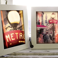 Metro vol.1 / Set of 2 Paris digital photography art 4 x 5.3 / Ready to print in A4 size and postcard / Underground sign, urban landscape