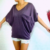 Cute Women V neck Purple Oversized Top Pockets Dolman Batwing Tee | Unique Cute Clothes, Fun Casual Wear For All Seasons