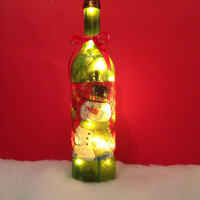 Snowman red/green wine bottle lamp, Christmas decoration, accent lamp, holiday lighting, holiday decorations