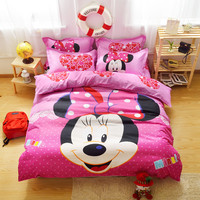 Bedclothes Baby children kids bed linen Queen twin Single bed Duvet cover set  Kids Mickey Minnie Mouse