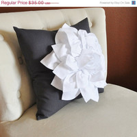 MOTHERS DAY SALE White Dahlia Flower on Charcoal Gray Pillow Accent Pillow Throw Pillow Toss Pillow