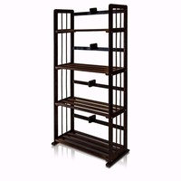 Furinno Pine Solid Wood 4-Tier Bookshelf, Espresso