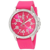 Juicy Couture 1900965 Women's Jetsetter Swarovski Crystals Bezel Hot Pink Dial Hot Pink Strap Watch