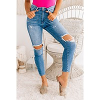Lost In Translation Distressed Skinny Jeans (Denim Blue)